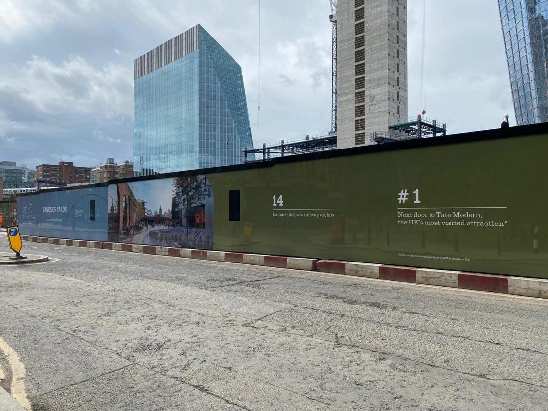 Huge hoarding installation, Bankside Yards, Blackfriars, London