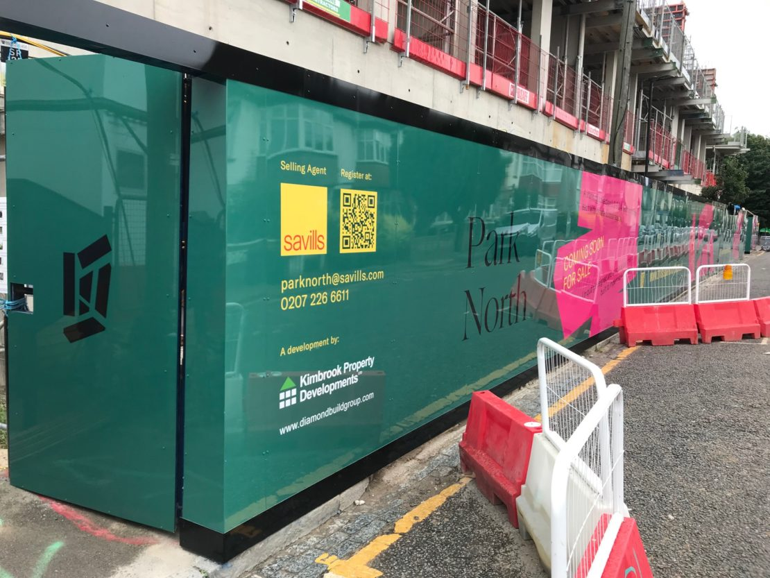 Large hoarding graphics for a development in Seven Sisters