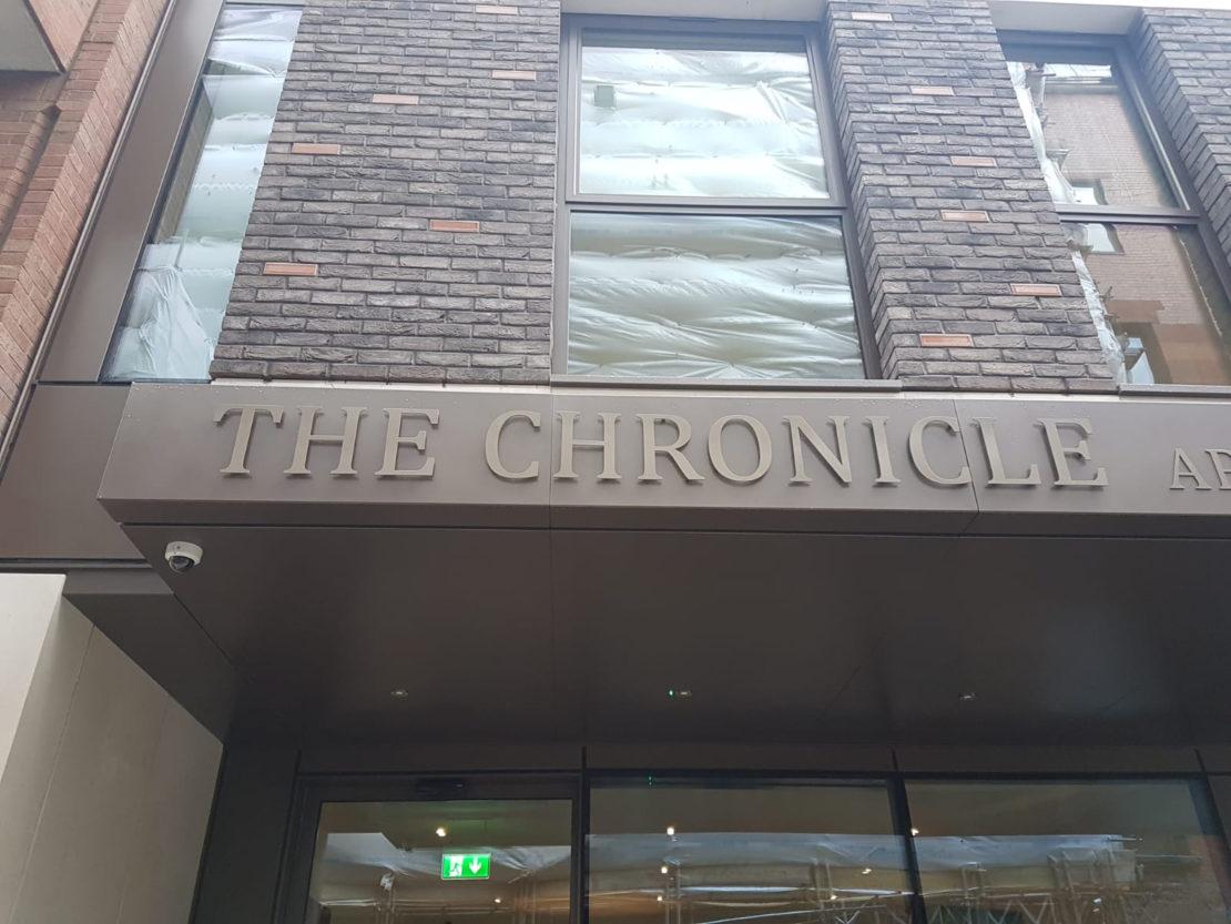Fascia signage install – The Chrònicle