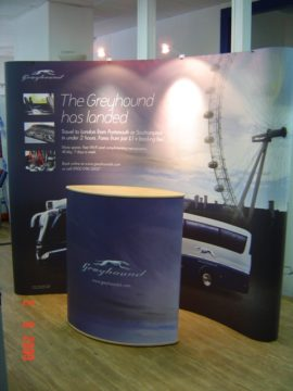Greyhound Coaches UK – Popup stand and lecturn graphics