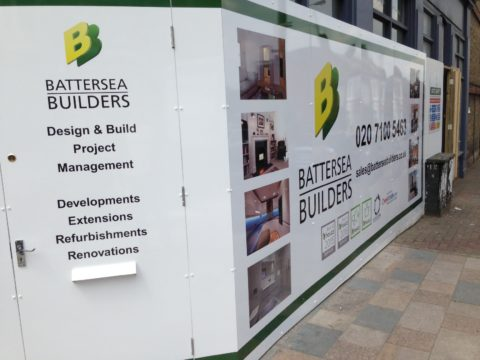 Battersea Builders – Hoarding graphics