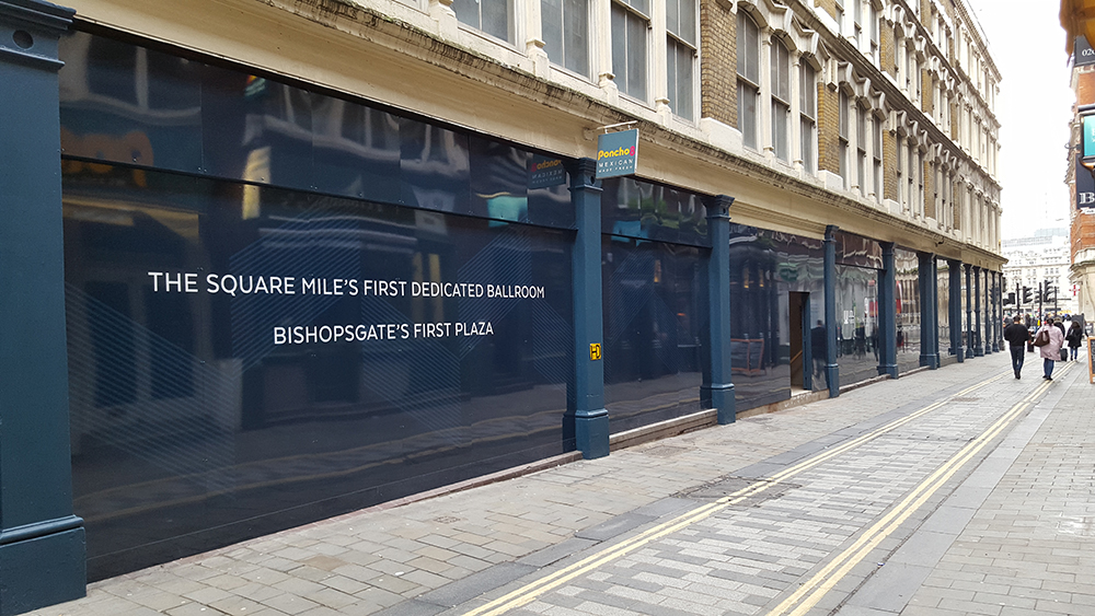 Bishopsgate – Hoarding graphics, London
