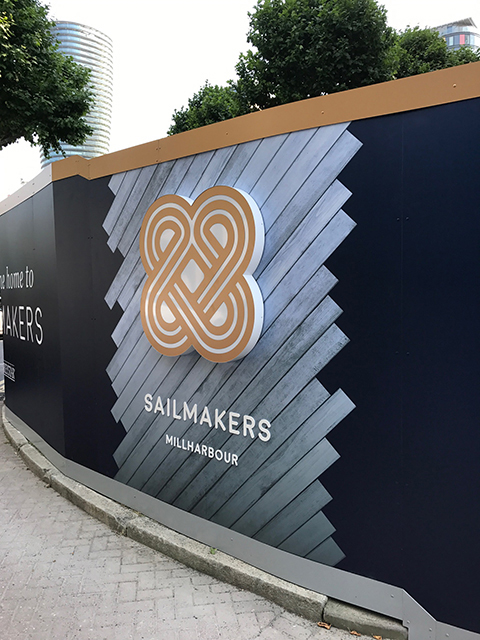 Millharbour – Hoarding graphics and bespoke lightboxes
